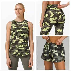 NWT Lululemon 3 Piece Set Green Camo Tank Shorts+